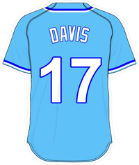 17 Wade Davis Powder Blue Jersey Decal / Sticker