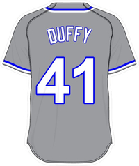41 Danny Duffy Gray Jersey Decal / Sticker