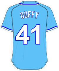 41 Danny Duffy Powder Blue Jersey Decal / Sticker