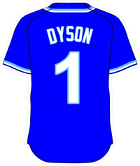 1 Jarrod Dyson Royal Blue Jersey Decal / Sticker