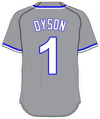 1 Jarrod Dyson Gray Jersey Decal / Sticker