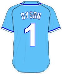 1 Jarrod Dyson Powder Blue Jersey Decal / Sticker