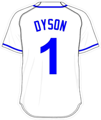 1 Jarrod Dyson White Jersey Decal / Sticker