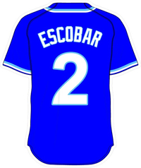 2 Alcides Escobar Royal Blue Jersey Decal / Sticker