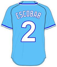 2 Alcides Escobar Powder Blue Jersey Decal / Sticker