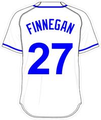 27 Brandon Finnegan White Jersey Decal / Sticker