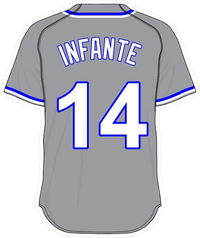 14 Omar Infante Gray Jersey Decal / Sticker