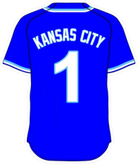 1 Kansas City Royal Blue Jersey Decal / Sticker