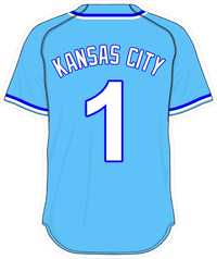 1 Kansas City Powder Blue Jersey Decal / Sticker