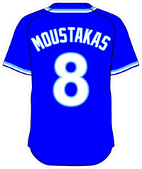 8 Mike Moustakas Royal Blue Jersey Decal / Sticker