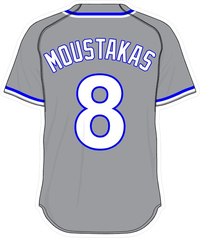 8 Mike Moustakas Gray Jersey Decal / Sticker