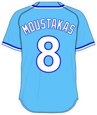 8 Mike Moustakas Powder Blue Jersey Decal / Sticker
