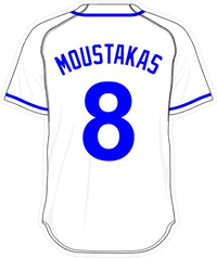 8 Mike Moustakas White Jersey Decal / Sticker