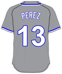 13 Salvador Perez Gray Jersey Decal / Sticker