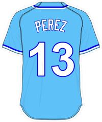 13 Salvador Perez Powder Blue Jersey Decal / Sticker