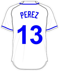 13 Salvador Perez White Jersey Decal / Sticker