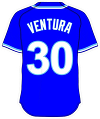 30 Yordano Ventura Royal Blue Jersey Decal / Sticker