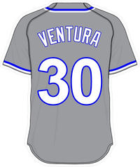 30 Yordano Ventura Gray Jersey Decal / Sticker