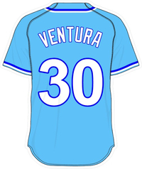 30 Yordano Ventura Powder Blue Jersey Decal / Sticker