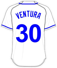 30 Yordano Ventura White Jersey Decal / Sticker