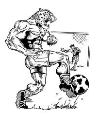 Soccer Leopards Mascot Decal / Sticker 2