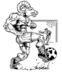 Soccer Rams Mascot Decal / Sticker 1
