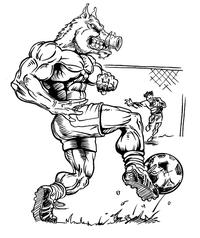 Soccer Razorbacks Mascots Decal / Sticker 2