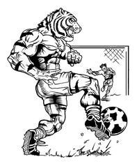 Soccer Tigers Mascot Decal / Sticker 1