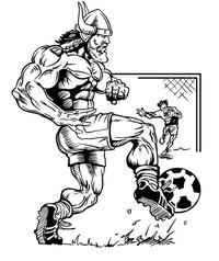 Soccer Vikings Mascot Decal / Sticker 2