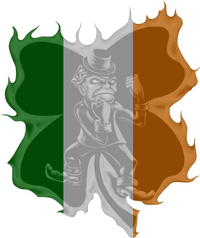 Fighting Irish Flag - 4 Leaf Clover Decal / Sticker 03