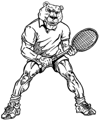 Tennis Bear Mascot Decal / Sticker
