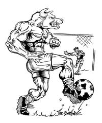 Soccer Bull Mascot Decal / Sticker 3