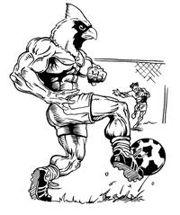 Soccer Cardinals Mascot Decal / Sticker 3