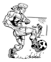 Soccer Frontiersman Mascot Decal / Sticker 3