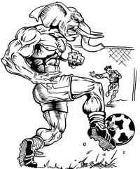 Soccer Elephants Mascot Decal / Sticker 3