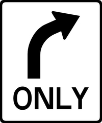 Right Turn Only Decal / Sticker 01
