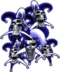 Blue Jester Skulls Decal / Sticker