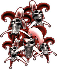 Red Jester Skulls Decal / Sticker