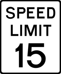 15 MPH Speed Limit Sign Decal / Sticker a
