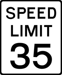 35 MPH Speed Limit Sign Decal / Sticker a