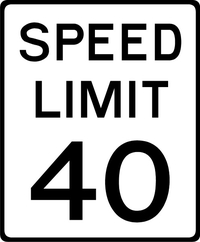 40 MPH Speed Limit Sign Decal / Sticker a