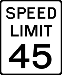 45 MPH Speed Limit Sign Decal / Sticker a