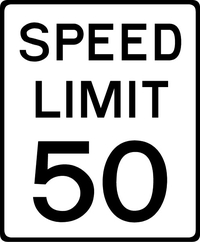 50 MPH Speed Limit Sign Decal / Sticker a