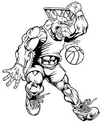 Basketball Bull Mascot Decal / Sticker 5