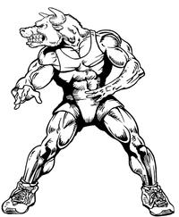 Wrestling Bull Mascot Decal / Sticker 2