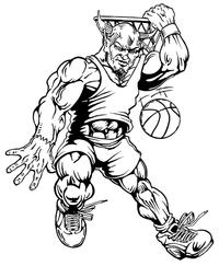 Basketball Devils Mascot Decal / Sticker 2
