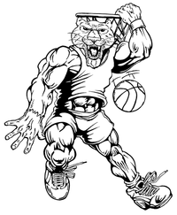 Basketball Cougars / Panthers Mascot Decal / Sticker 3