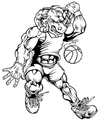 Basketball Rams Mascot Decal / Sticker 2