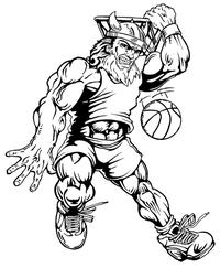 Basketball Vikings Mascot Decal / Sticker 2