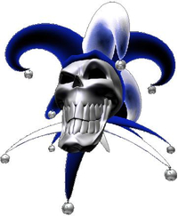Blue Jester Skull Decal / Sticker